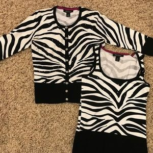 White House Black Market Black/white Sweater Set